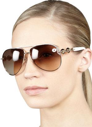 Gucci Temple-Detail Aviator Sunglasses, White