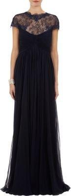 Monique Lhuillier Lace Chiffon Gown