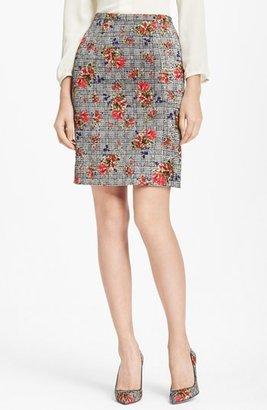 Oscar de la Renta Bouquet Glen Plaid Print Skirt
