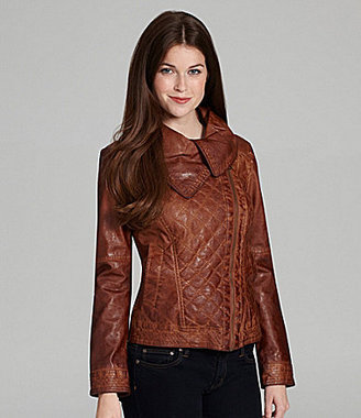 GUESS Asymmetric Quilted Faux-Leather Jacket