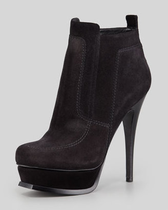 Saint Laurent Shearling-Lined Platform Bootie, Black