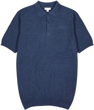 Sunspel Navy Knitted Cotton Polo Shirt