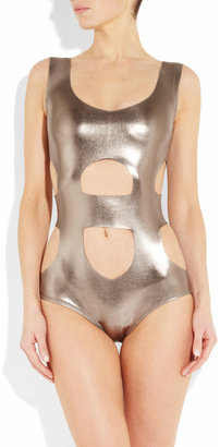 Norma Kamali Foil metallic cutout swimsuit