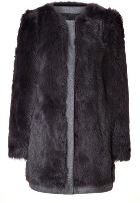 DKNY Flannel Grey Shearling Coat with Wool Trim