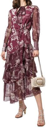 Marchesa Notte Tie-Neck Asymmetric Tiered Ruffle Dress