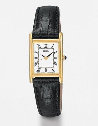 Bulova Women's Rectangular-Dial Black Leather Watch
