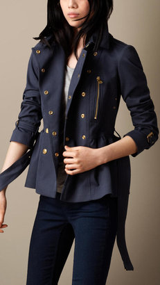 Burberry Cotton Twill Peplum Trench Jacket
