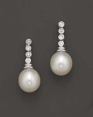 Bloomingdale's Cultured Freshwater Pearl and Diamond Drop Earrings in 14K White Gold, 9mm