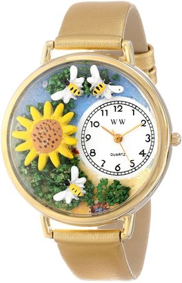 Whimsical Watches Unisex G1210009 Sunflower Gold Leather Watch