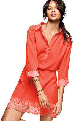 Victoria's Secret Lace-panel Henley Shirtdress