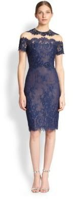 Notte by Marchesa Lace Illusion Cocktail Dress