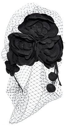 Jennifer Behr Camellia Beehive Headband With Floral Veil