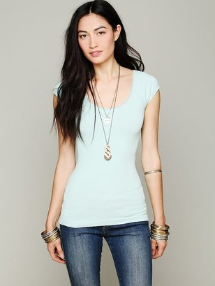Free People Solid Seamless Capsleeve Top