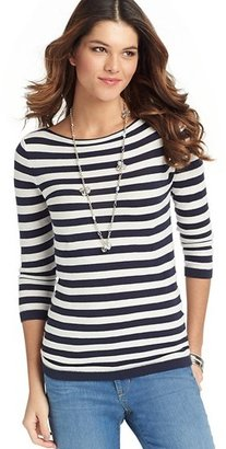 LOFT Petite Striped 3/4 Sleeve Cotton Sweater