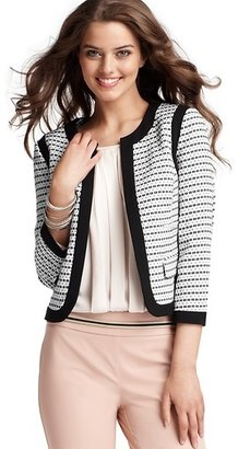 LOFT Piped Tweed Open Front Jacket