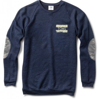 Camo Men's navy crewneck sweatshirt with elbow patches
