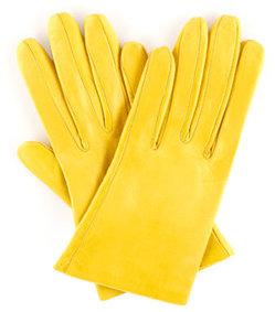 Carolina Amato Shorty Leather Gloves, Yellow