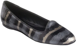 Delman Sirri Leather Striped Snake-Effect Loafers