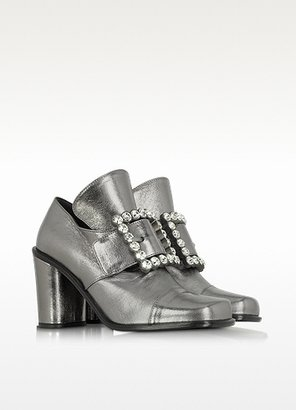 Marc Jacobs Virginia - Silver Lame Leather and Crystal Buckle Pump