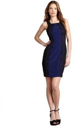 Jay Godfrey deep blue and black silk blend lace trimmed tank dress
