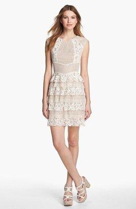 BCBGMAXAZRIA Lace Panel Ruffle Dress