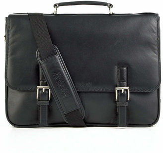Kenneth Cole Reaction Manhattan Leather Single Gusset Laptop Briefcase