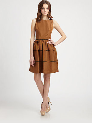 Lotusgrace Piping Trimmed Faille Dress
