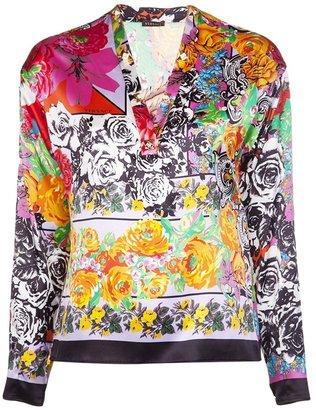 Versace floral v-neck blouse