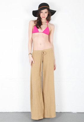 Alexis Lauren Drawstring Flared Pant in Tan -