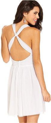 B. Darlin Juniors Dress, Sleeveless V-Neck A-Line
