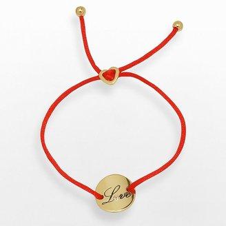 "Gold tone over silver plate white topaz ""love"" disc bracelet"