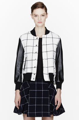 Sacai LUCK Ivory and leather cape-back Checkered Bomber