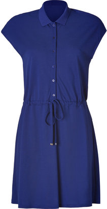 Lacoste Ocean Blue Cotton-Blend Drawstring Polo Dress