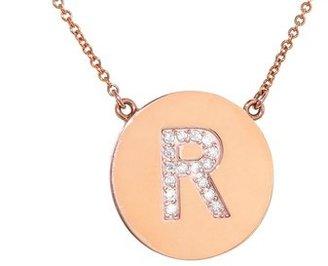 Jennifer Meyer Diamond Letter Necklace - R - Rose Gold