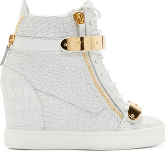 Giuseppe Zanotti White Croc-Embossed Wedge Sneakers $995 thestylecure.com