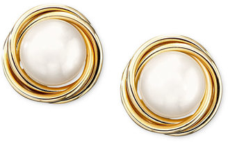 14k Gold Cultured Pearl Knot Earrings
