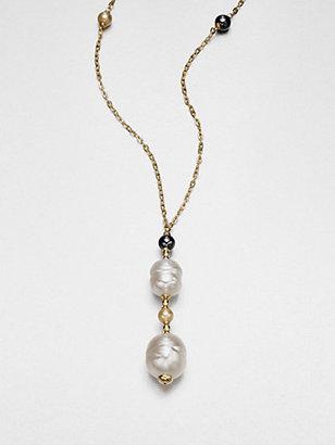 Majorica 12MM-16MM White Baroque & 6MM Champange Pearl Pendant Necklace