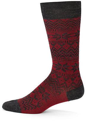 HUGO BOSS Fair Isle Cotton-Blend Socks