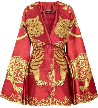 Alexander McQueen Lion silk-jacquard kimono cape