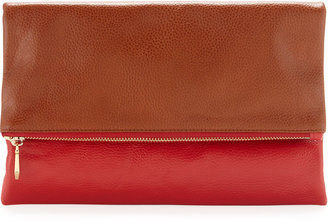 Neiman Marcus Two-Tone Fold-Over Clutch, Cognac/Red
