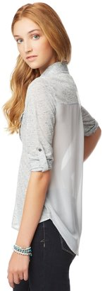 Aeropostale Sheer-Back Woven Popover Shirt