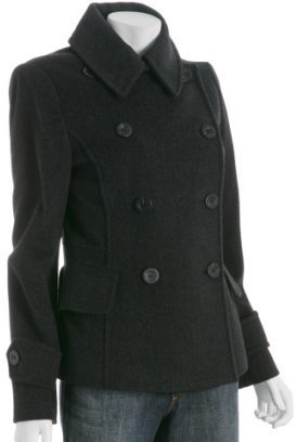 Michael Kors MICHAEL Michael black wool double breasted peacoat