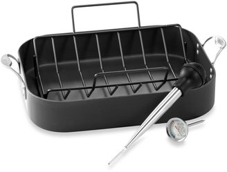 """Calphalon One Infused Anodized 13"""" x 16"""" Roaster with Rack"""