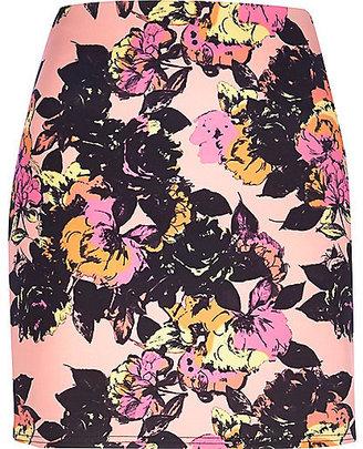River Island Womens Pink floral print tube skirt