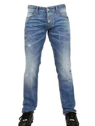 DSquared 19cm Faded Splash Stretch Denim Jeans