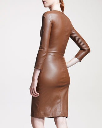 The Row Stretch-Leather Sheath Dress