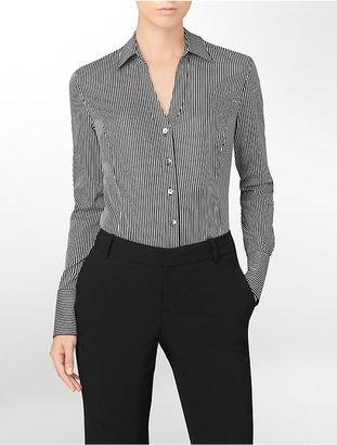 Calvin Klein Essential Fit Non Iron Striped Button-Front Shirt