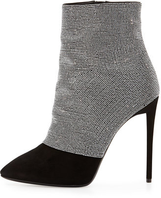 Giuseppe Zanotti Strass and Suede Ankle Boot