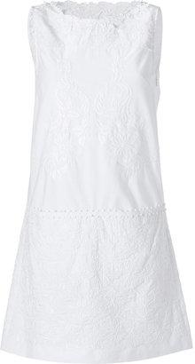 Philosophy di Alberta Ferretti White Embroidered Cotton Sleeveless Dress