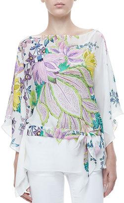 Roberto Cavalli Short Classic Floral Silk Caftan, White/Purple